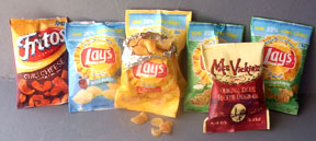 photo of miniature potato chip bags